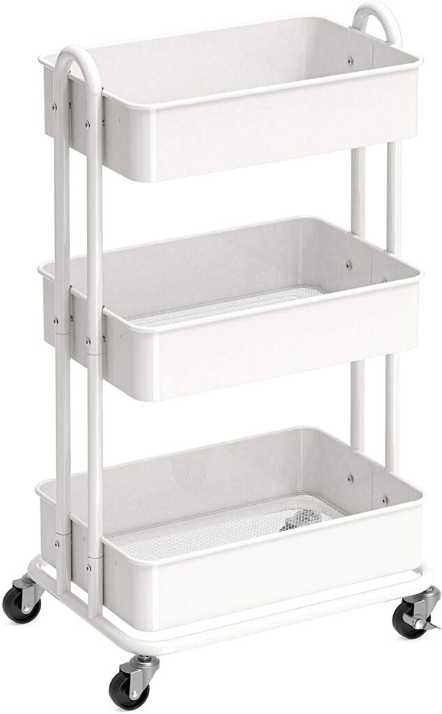 Minimal white rolling cart for plants on Amazon